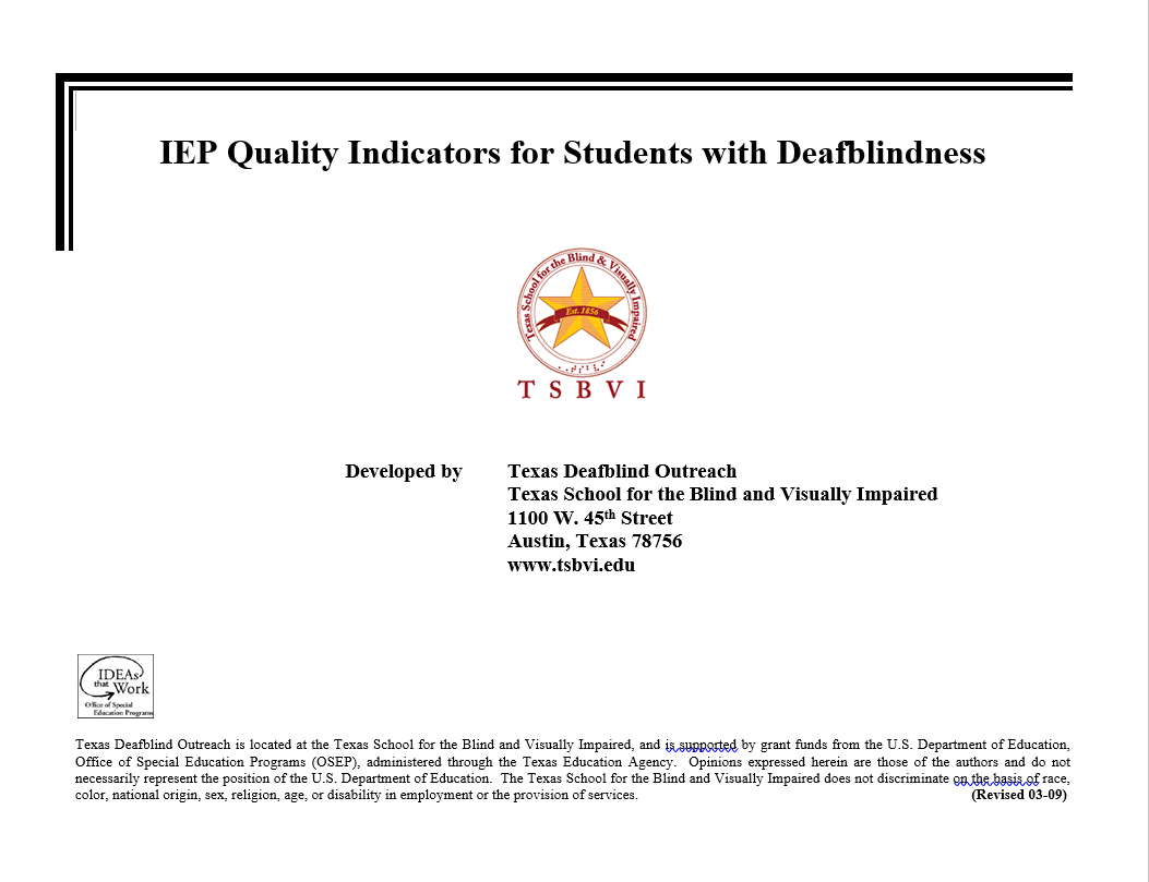 IEP Quality Indicators for Students with Deafblindness