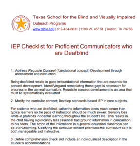 A Screenshot of the IEP Checklist for Proficient Communicators who are Deafblind