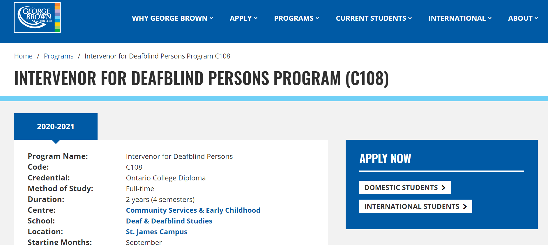 Screenshot of the George Brown University listing for their Intervenor for Deafblind Program