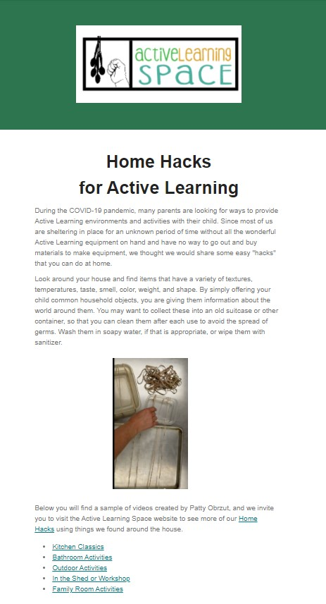 Screenshot of Active Learning newsletter