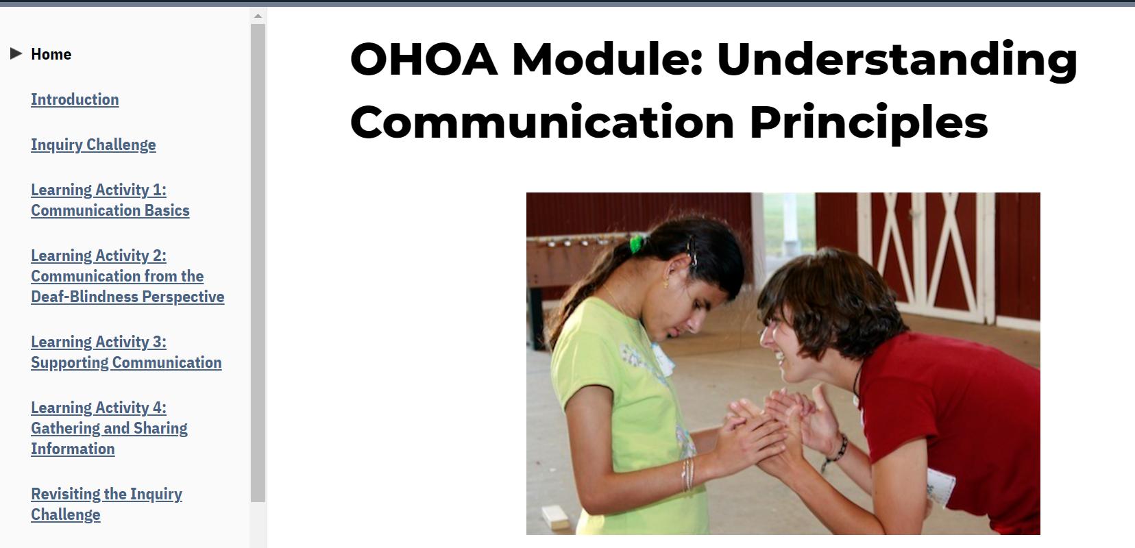 Screenshot from the OHOA MOdule: Using Communication Principles