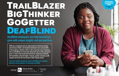 2021 Deafblind Awareness Poster: Trailblazer, thinker, go-getter.