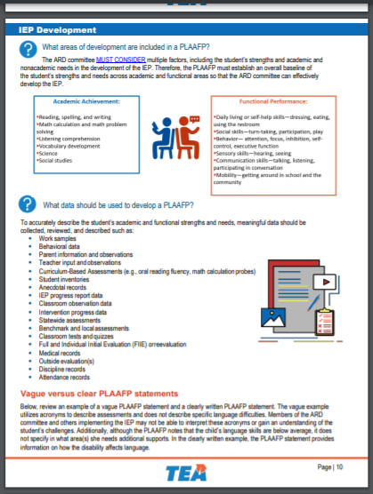 Page from Technical Assistance: IEP Development