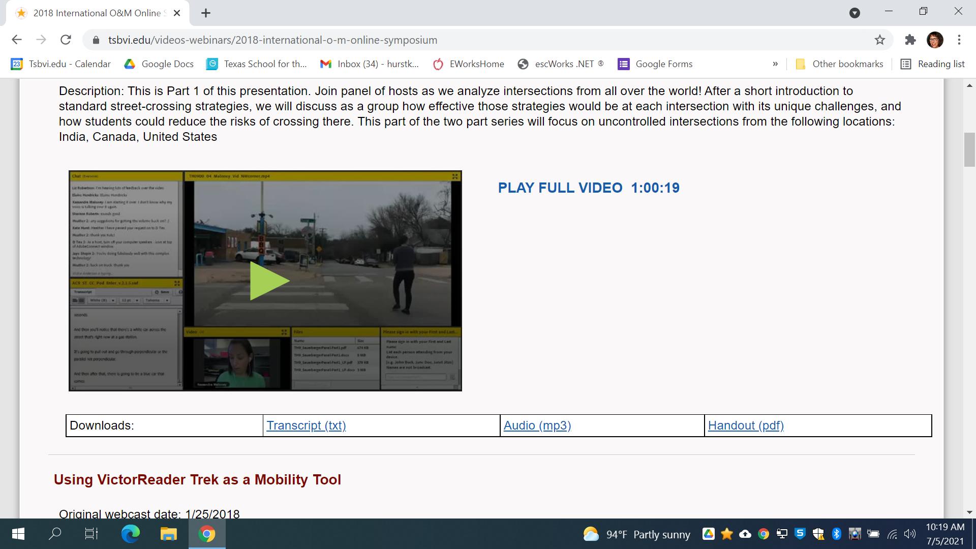 Screenshot of recorded presentations on TSBVI website.