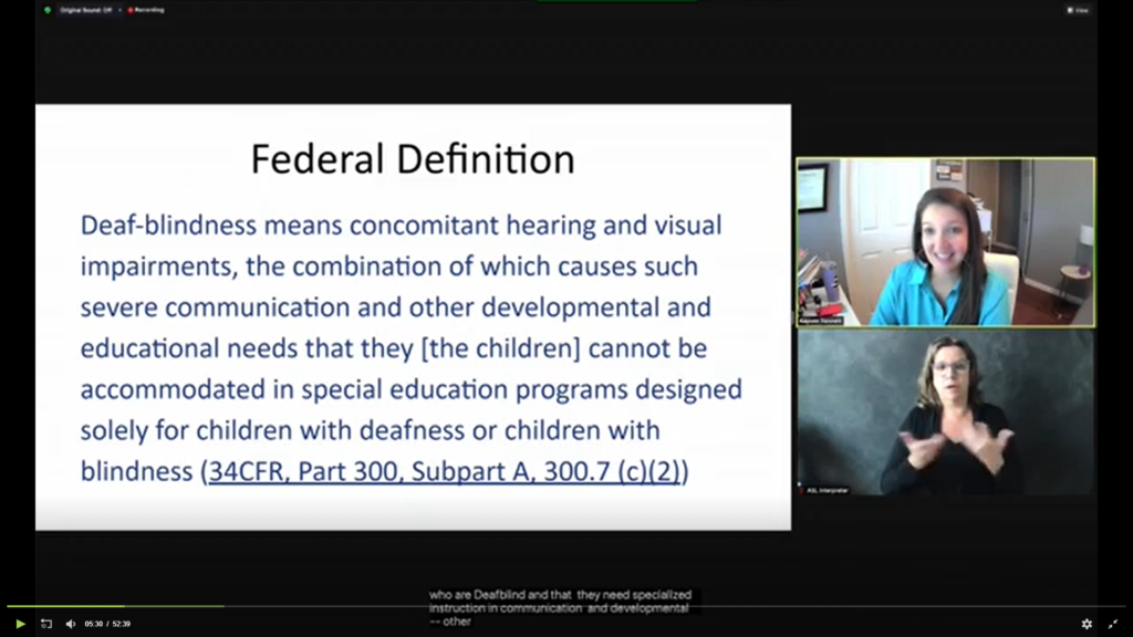 Screenshot of the Zoom for Coffee Hour with a slide in the center and Kaycee Bennett and the ASL interpreter on the right side of the screen