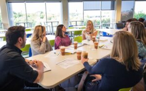 The team meets to discuss the effectiveness of behavioral supports.