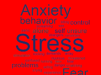 Word cloud graphic with such words as anxiety, stress, behavior, fear, unsure, problems, control, etc.