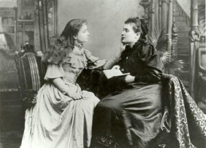 Helen Keller, when she was a young woman, with Anne Sullivan.