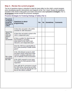 One of the forms in Guidance for Planning Behavior Intervention for Children and Young Adults who are Deafblind or have Visual and Multiple Impairments